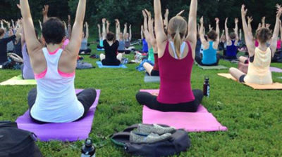 Group yoga in Prospect Park
